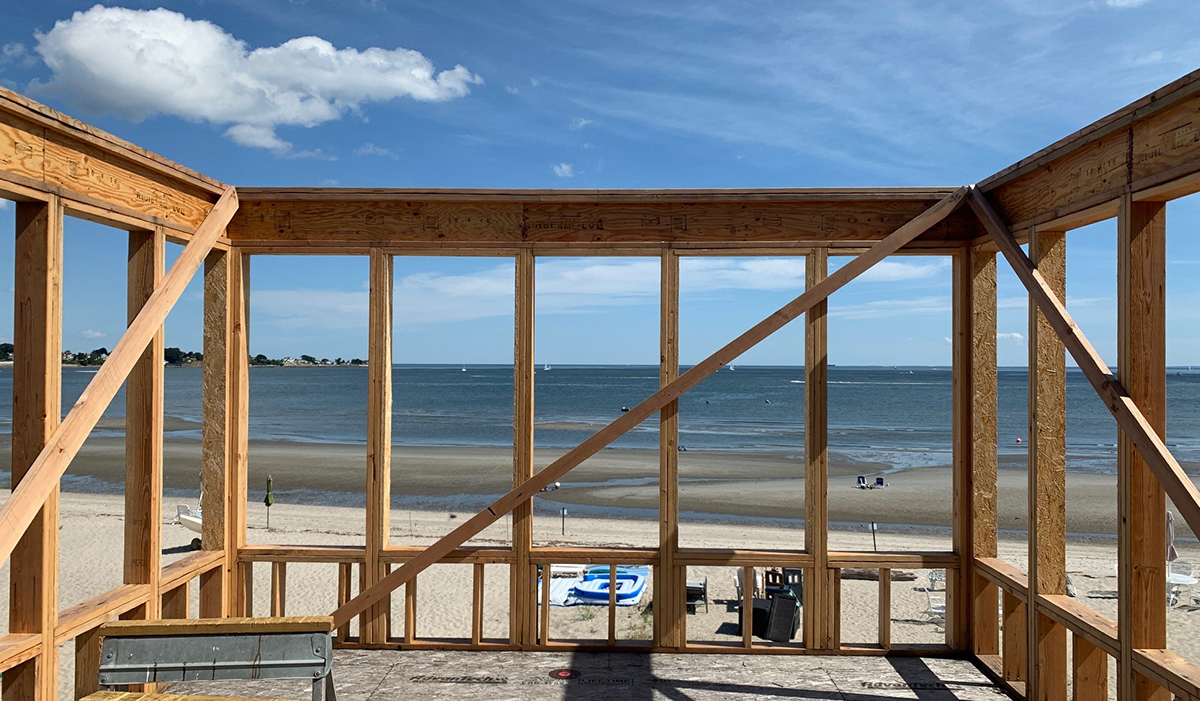Waterfront home framing construction
