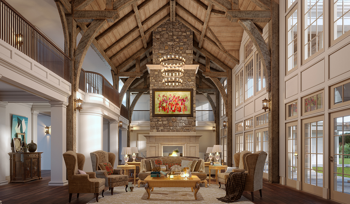 Gambrel Great Hall Rendering in Greenwich,CT Estate Home
