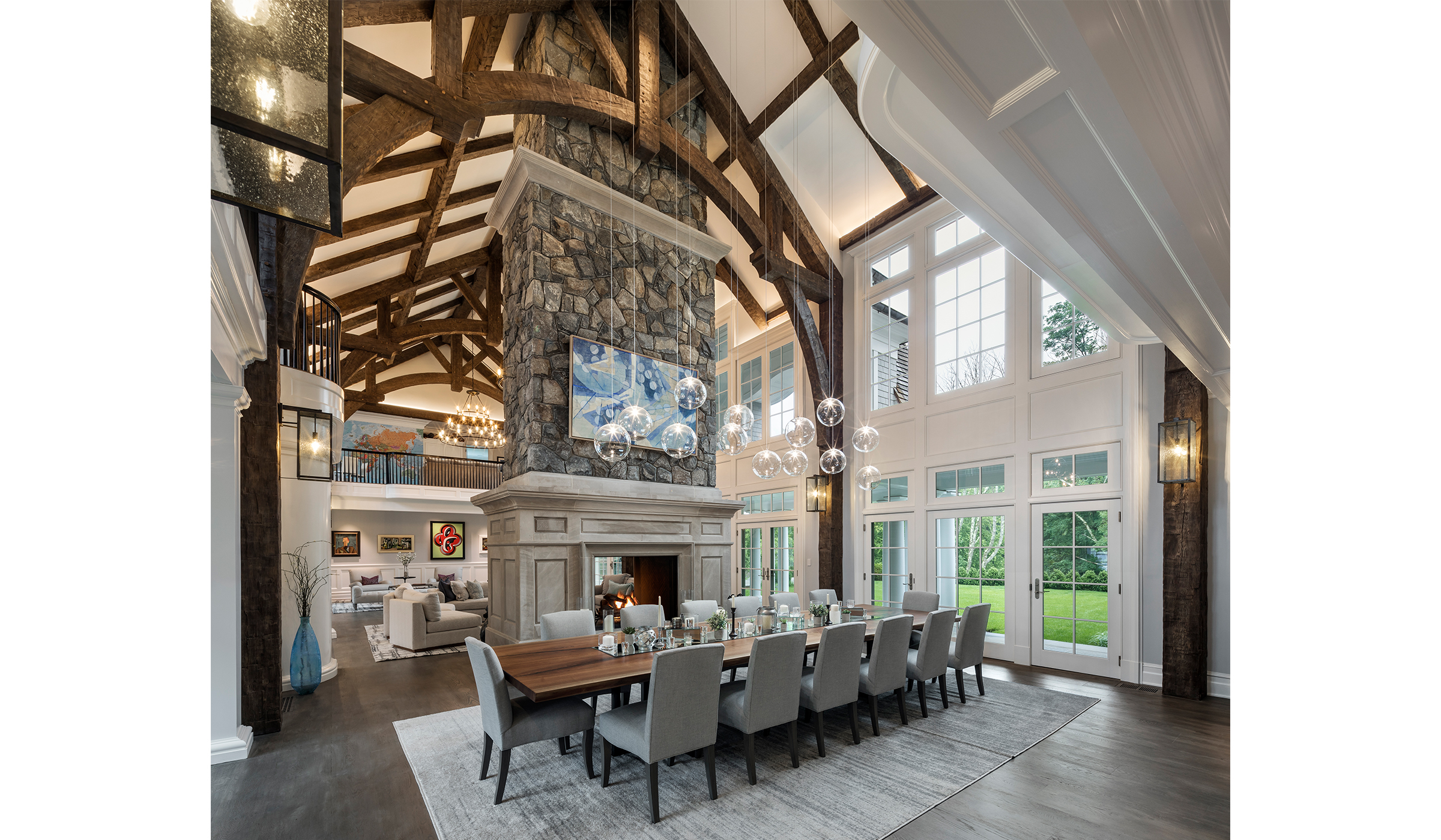 Greenwich Gambrel great hall with dining room and two sided fireplace