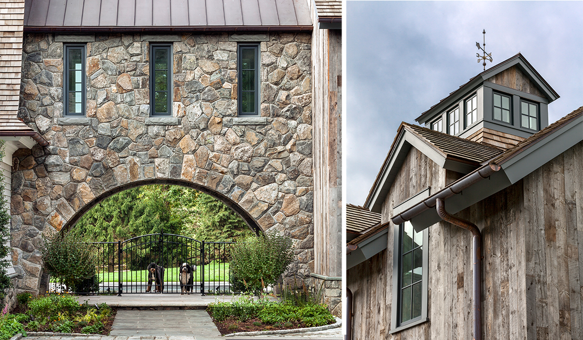 Greenwich Gambrel with Stone Veneer Arch Porthole to In-ground pool with Rustic Barn Garage