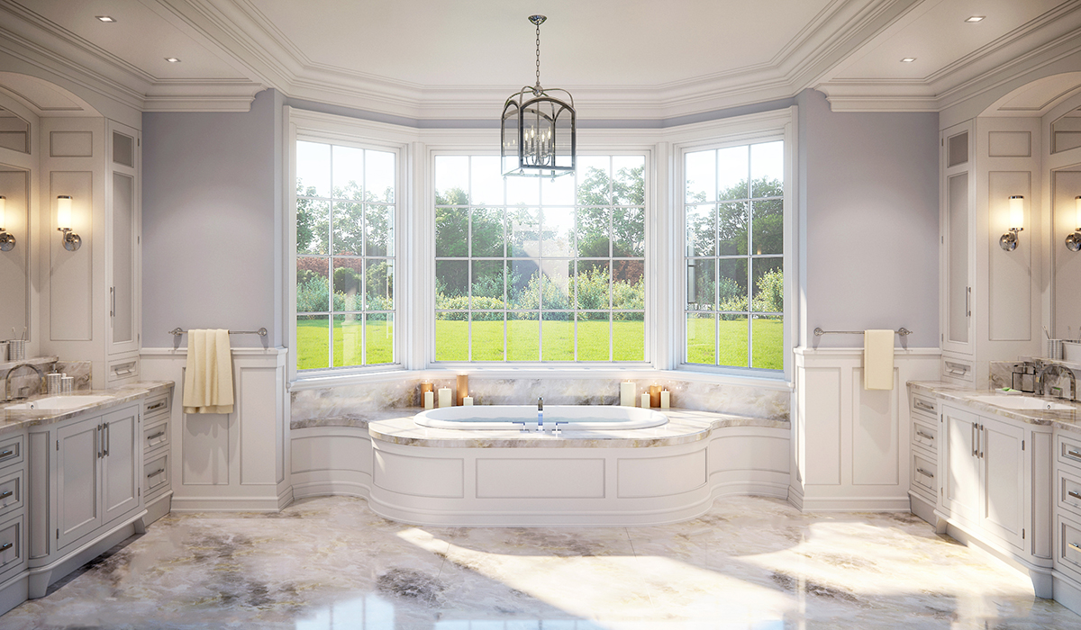 Greenwich luxury shingle style home interior rendering of master bathroom with soaking tub