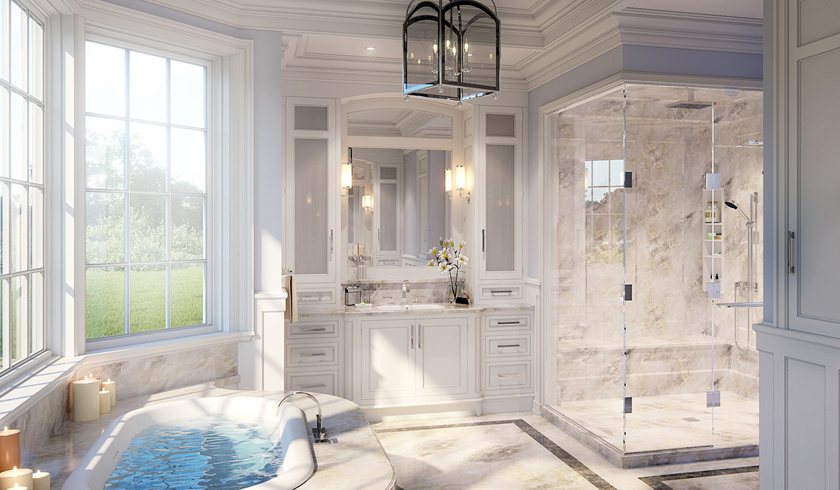 Greenwich luxury master bathroom with vanity, shower, tub interior 3D perspective rendering