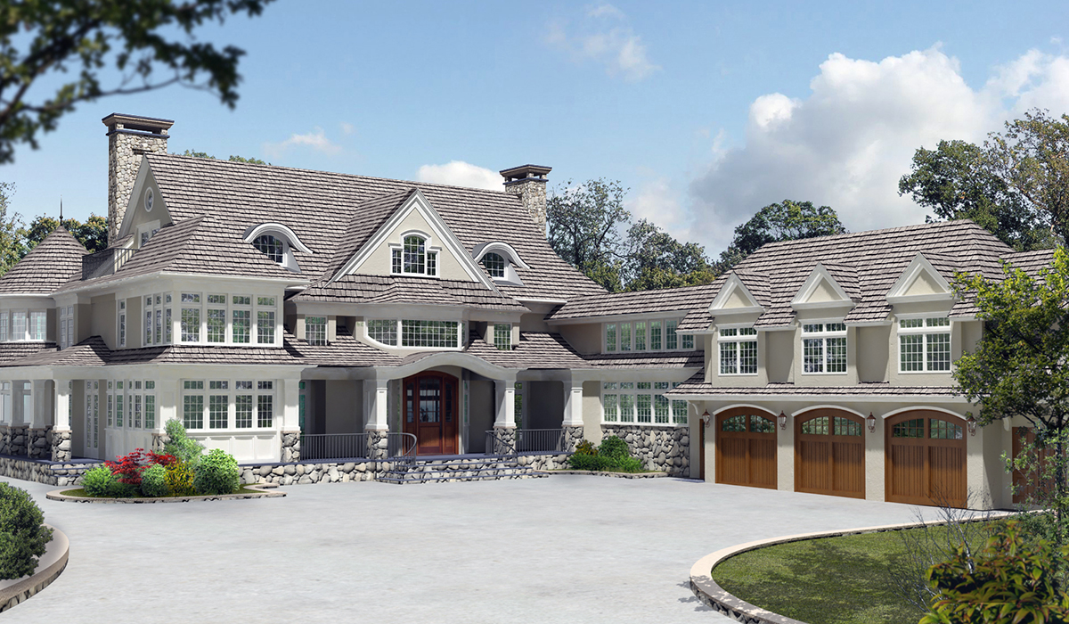 Greenwich shingle style luxury home exterior front entry 3D rendering