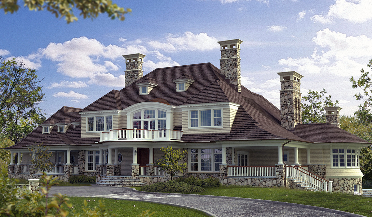 Greenwich shingle style home with portico and sweeping roofs 3D rendering