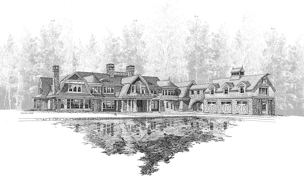 Greenwich, CT Shingle Style Gambrel Home 3D Perspective Hand Sketch Rendering