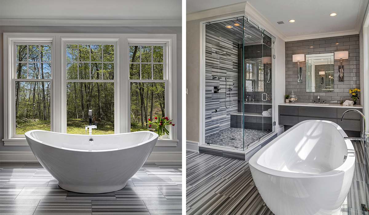 Modern bathroom by Cardello Architects in shingle style home