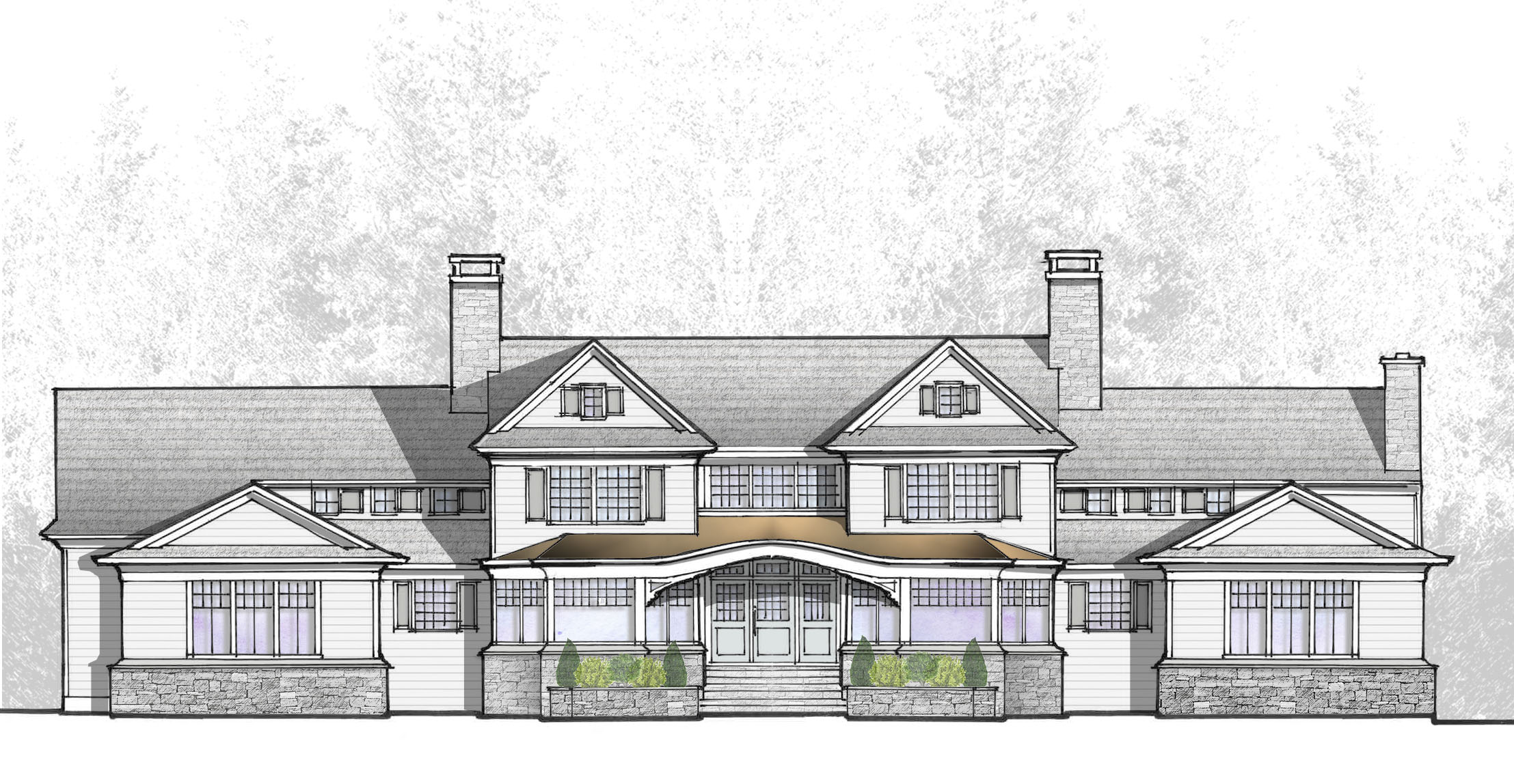 cardello architects hand sketch rendering