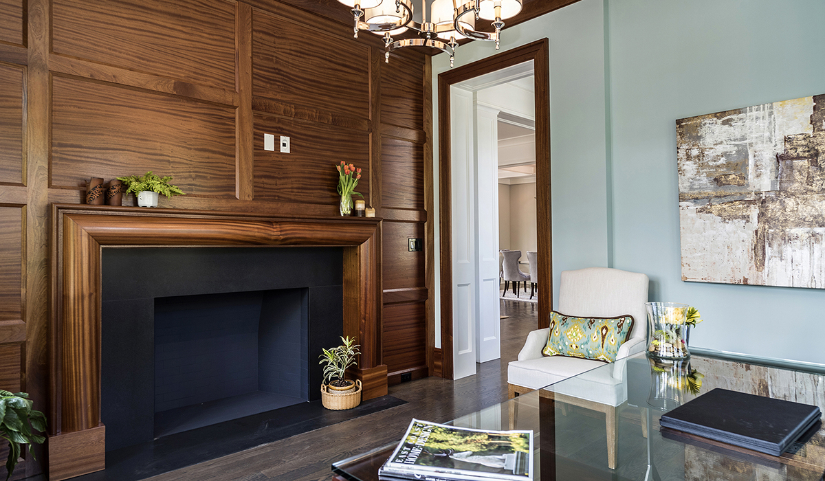 Greenwich COnnecticut luxury office with walnut paneling in shingle style residence by Cardello Architects