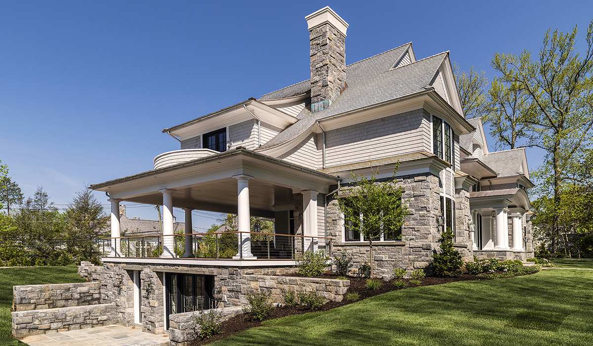 Screen porch in custom luxury shingle style home with walk out basement in Greenwich Connecticut by Cardello Architects