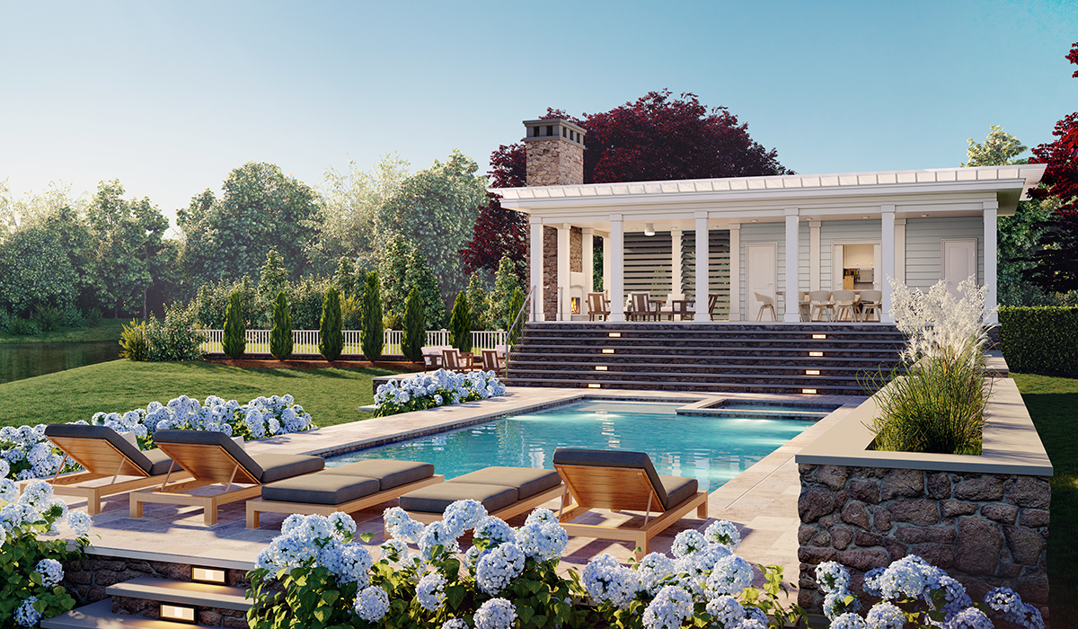 shingle style oceanfront property pool house