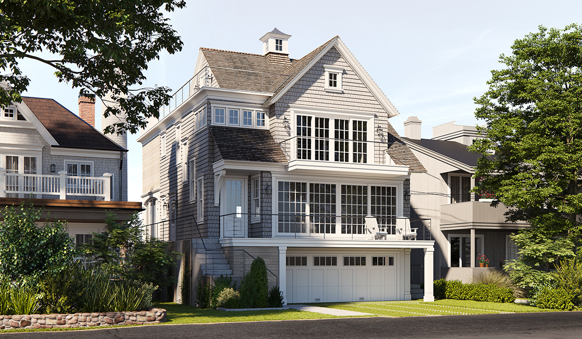 South Beach Drive waterfront custom home shingle style architecture