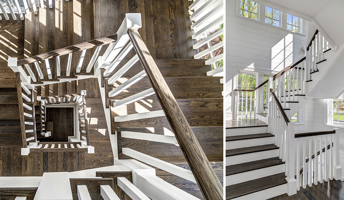 Stairwell in Greenwich Connecticut shingle style house by Cardello Architects