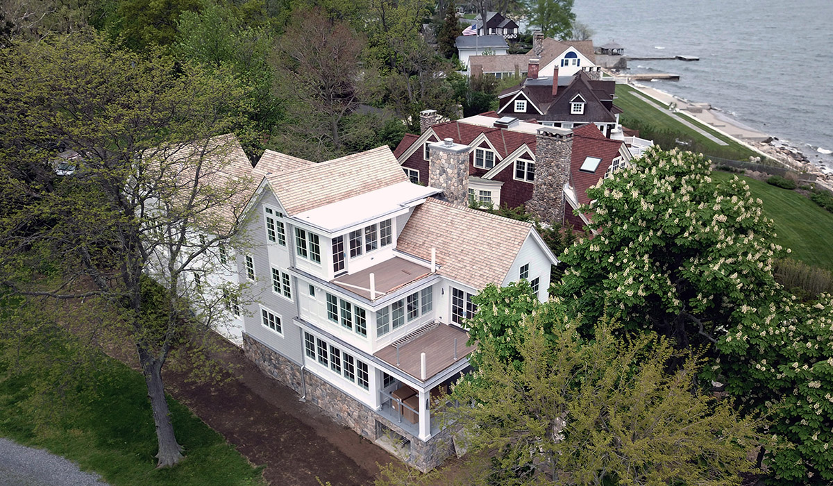 Stamford Connecticut Waterfront Modern House lift Renovation Drone Aerial