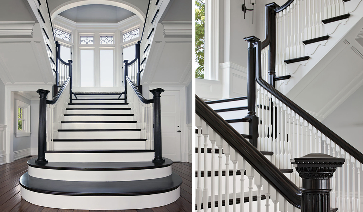 Custom home design with luxury stair design in custom waterfront home