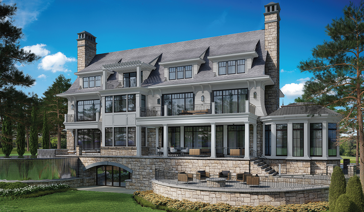 Belle Haven Shingle Style home 3D perspective exterior rendering of terrace, covered porch and pool