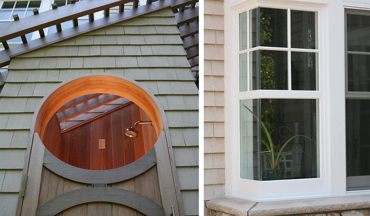 outdoor shower and corner window cool details in new england cottage by cardello architects
