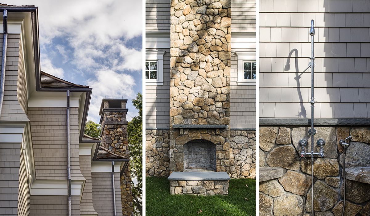 custom exteriro details and natural stone exterior fireplace with patio by cardello architects