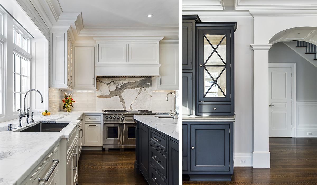 custom white kitchen in custom shingle style home in DArien Connecticut by cardello architects