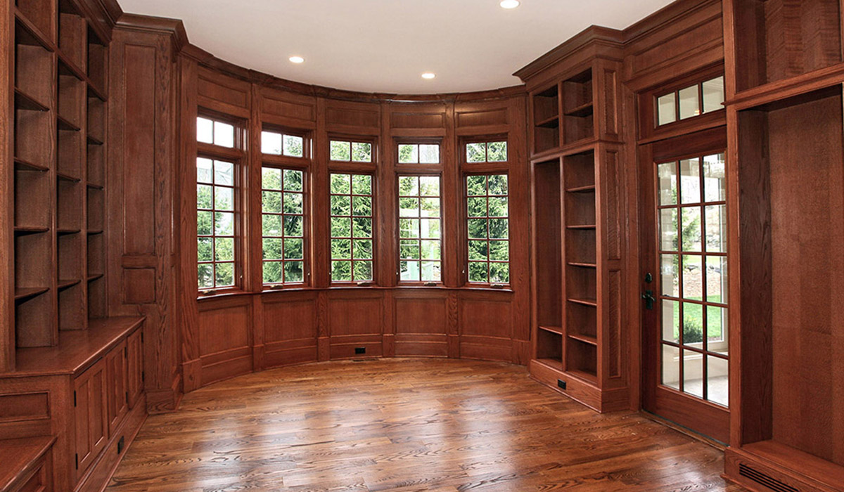 custom walnut home office with paneling and custom details by cardello architects