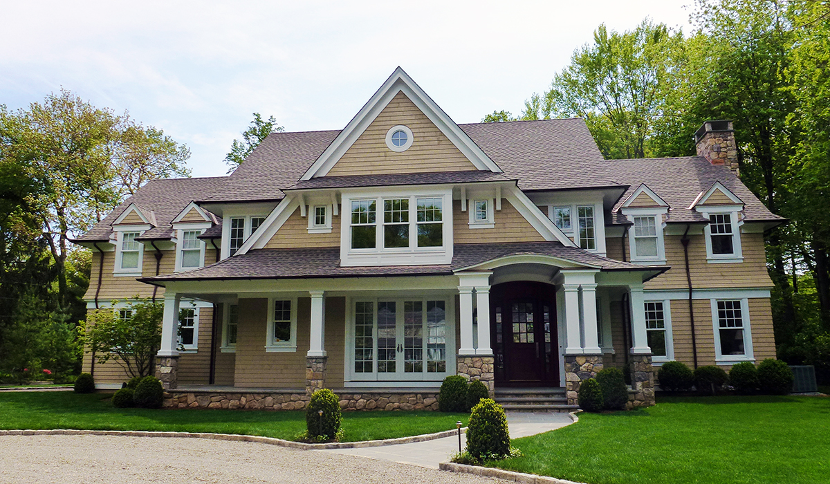 custom shingle style gable home in DArien Connecticut by cardello architects