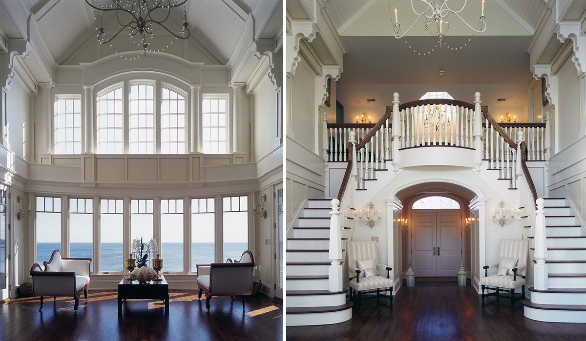 custom interior design with butterfly stair and large windows by cardello architects