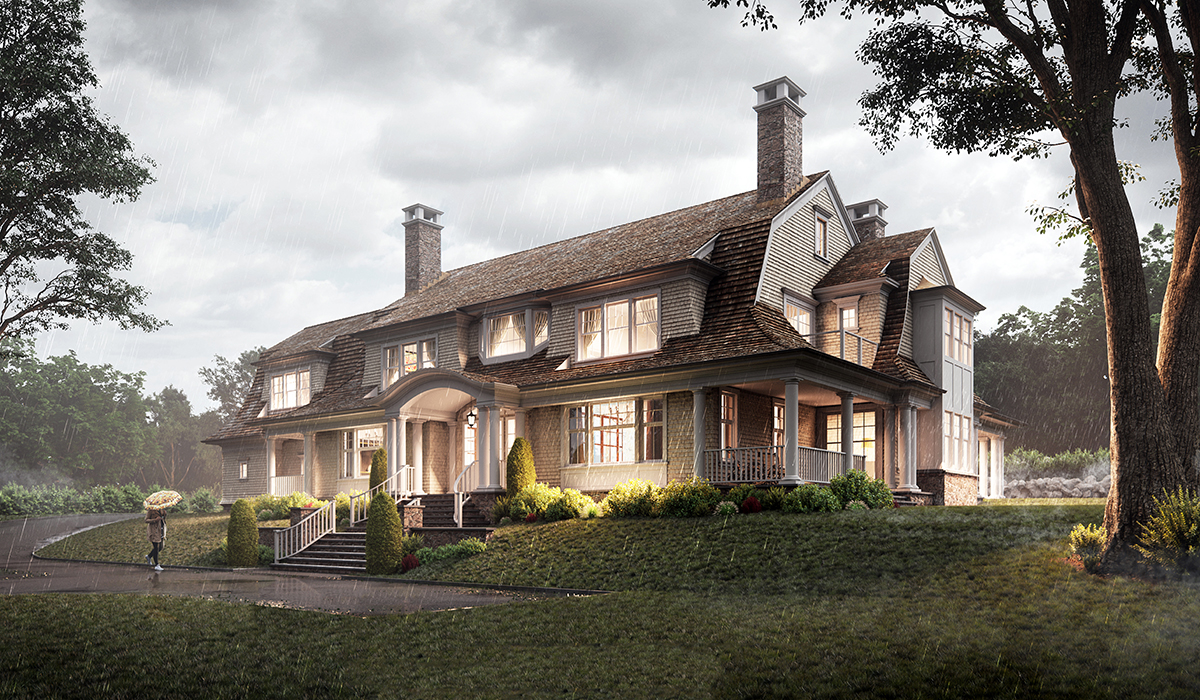 Darien 3D exterior perspective rendering of gambrel home with portico