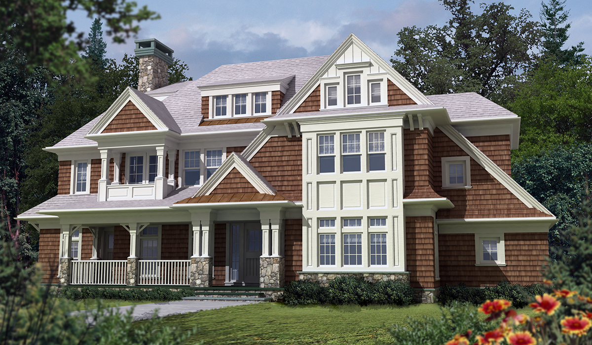 Darien shingle style cottage 3D exterior perspective rendering