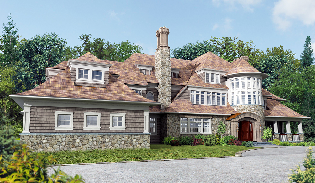 Darien shingle style home 3D perspective rendering of front entry with stair tower