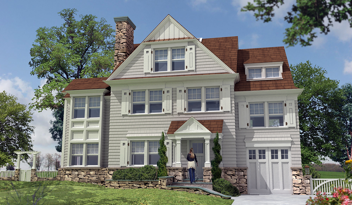 Darien shingle style home with portico 3D exterior perspective rendering