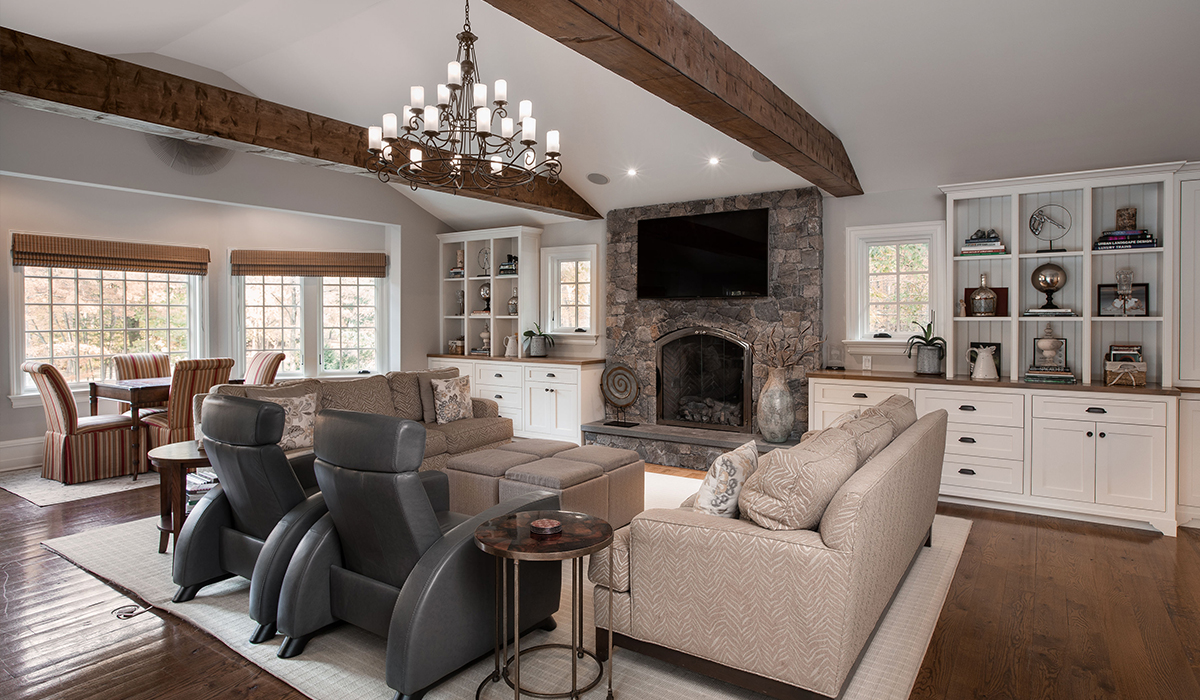 Fairfield Connecticut traditional residential renovation family room wood beam coffers