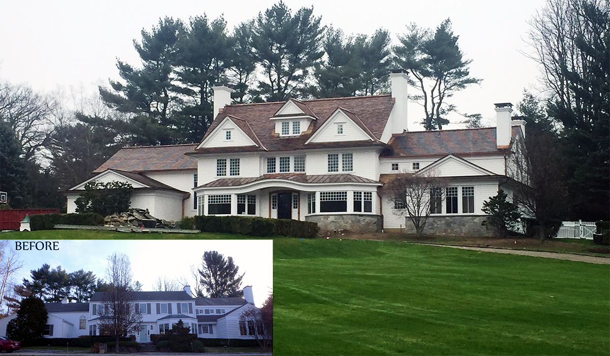Greenwich Connecticut Before and after renovation of shingle colonial home