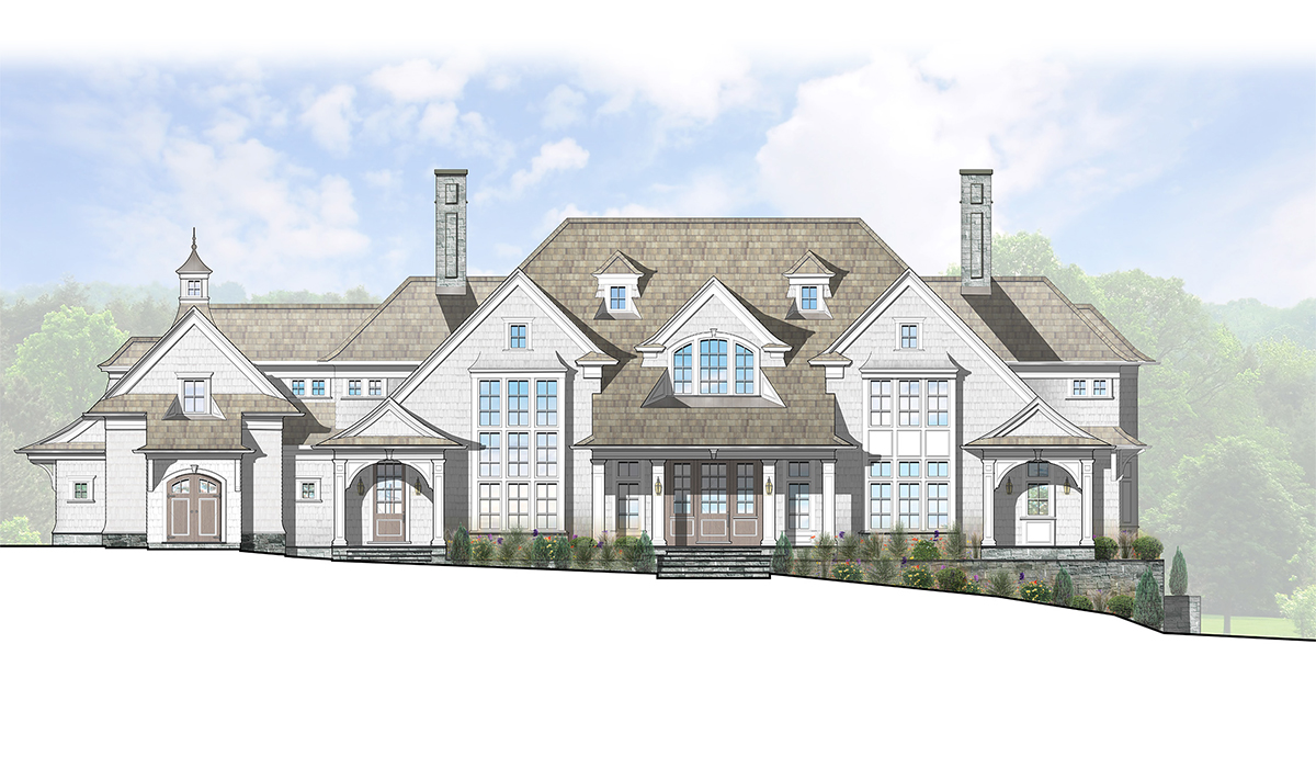 Greenwich Connecticut fairfield county luxury shingle style home design by award winning custom architect computer rendering