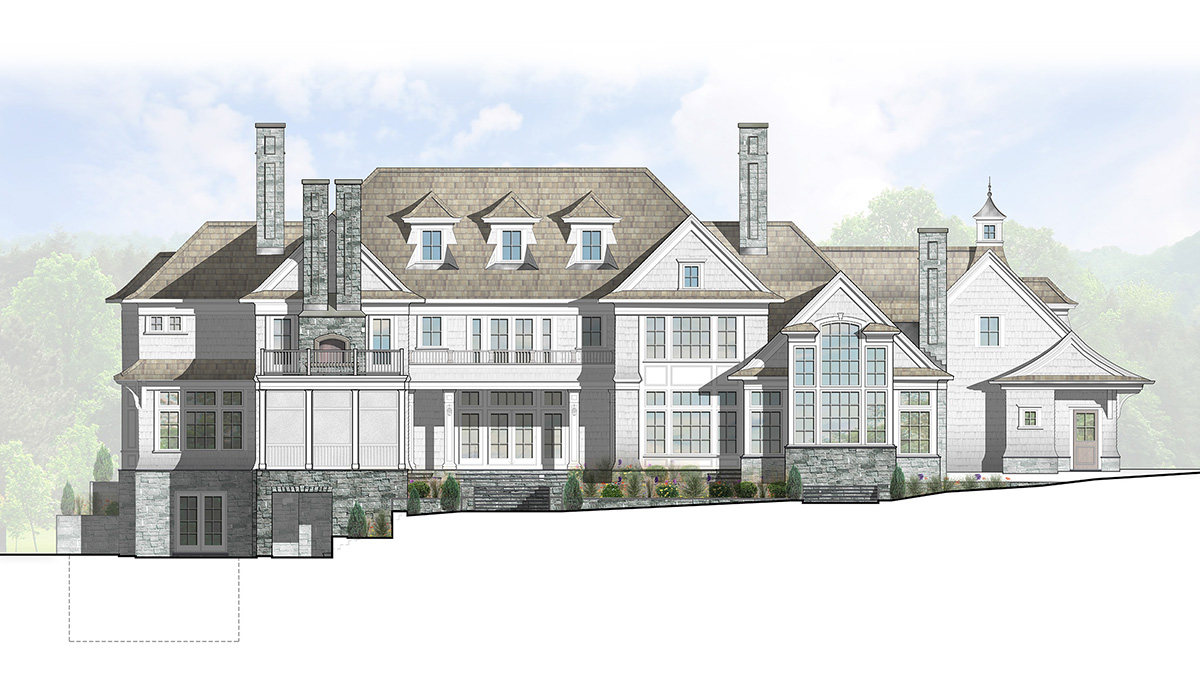 Greenwich Connecticut fairfield county luxury shingle style home design by award winning custom architect computer rendering design process