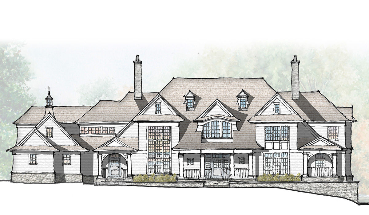 Greenwich Connecticut fairfield county luxury shingle style home design by award winning custom architect schematic design hand rendering sketch design process
