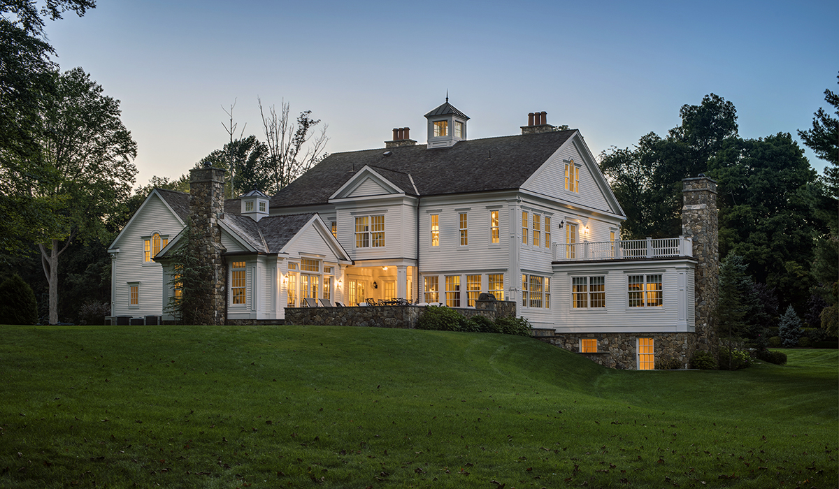 Colonial style home renovation westport ct cardello architects for Updated colonial home exterior