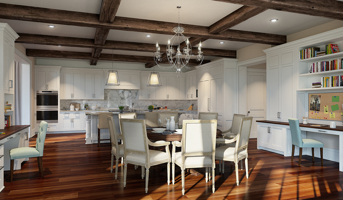 Greenwich,CT 3D interior rendering of kitchen with wood coffered ceiling