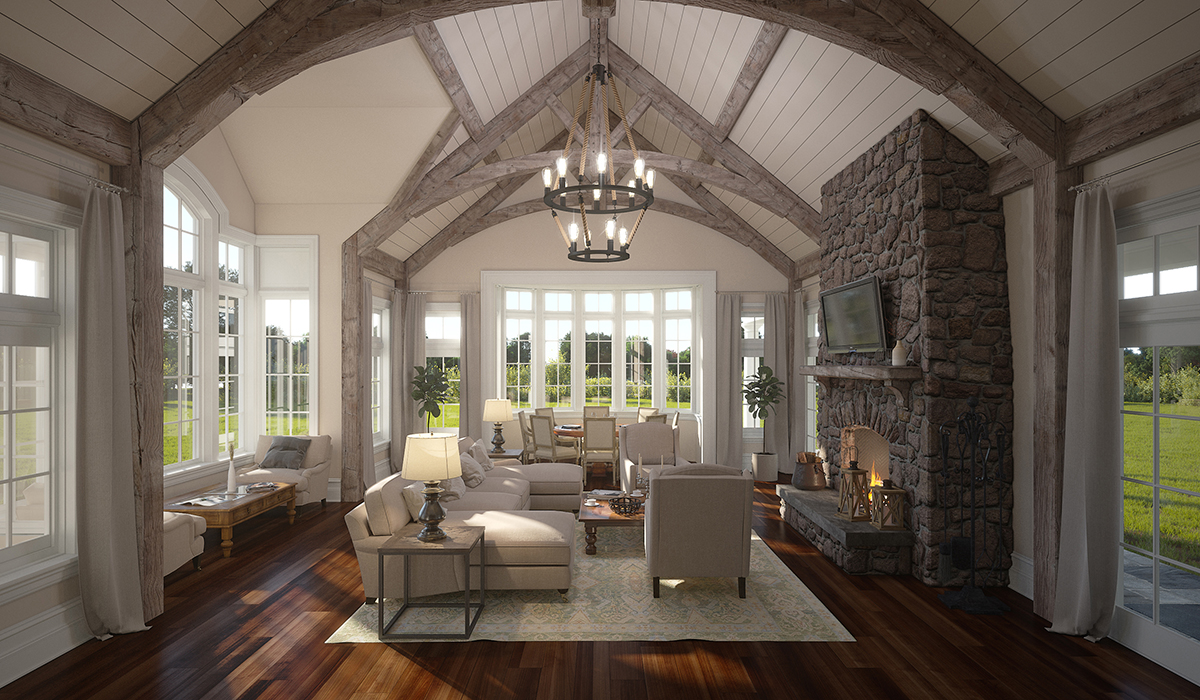 Greenwich,CT livingroom interior rendering cathedral ceiling