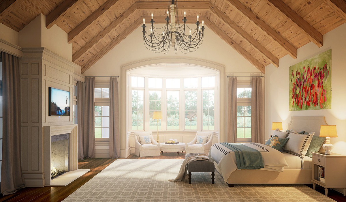 Greenwich,CT interior 3D rendering of master bedroom with vaulted ceiling