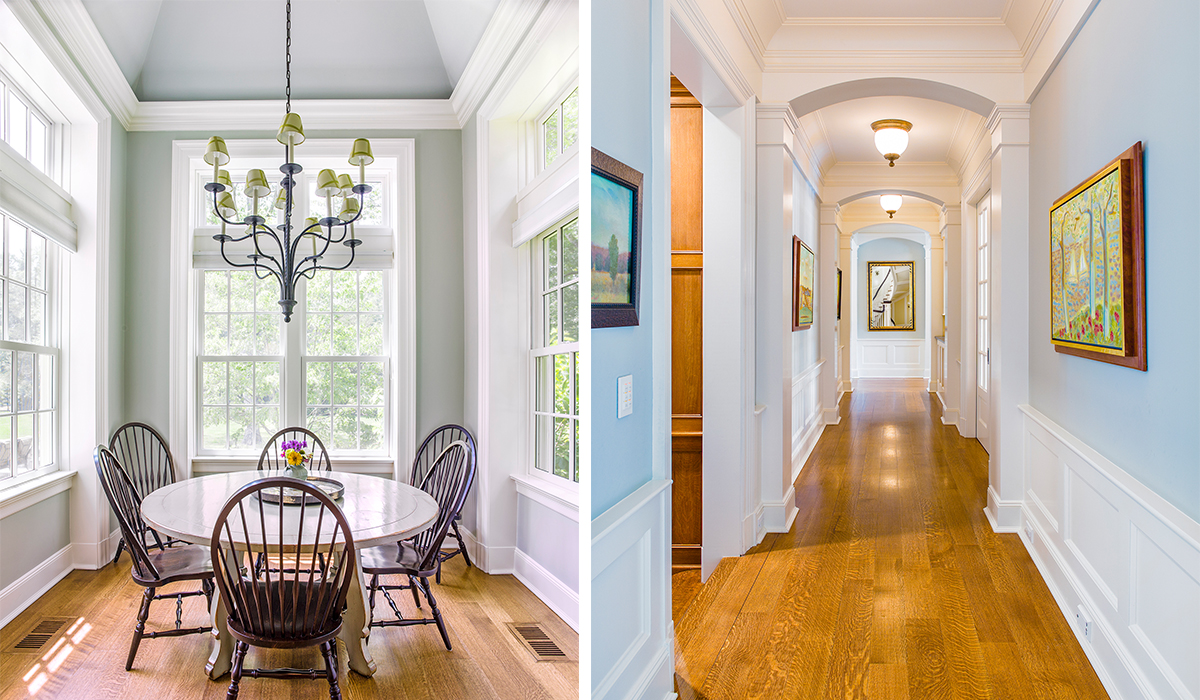 large eat in breakfast nook in new Canaan Connecticut by luxury architect cardello architects