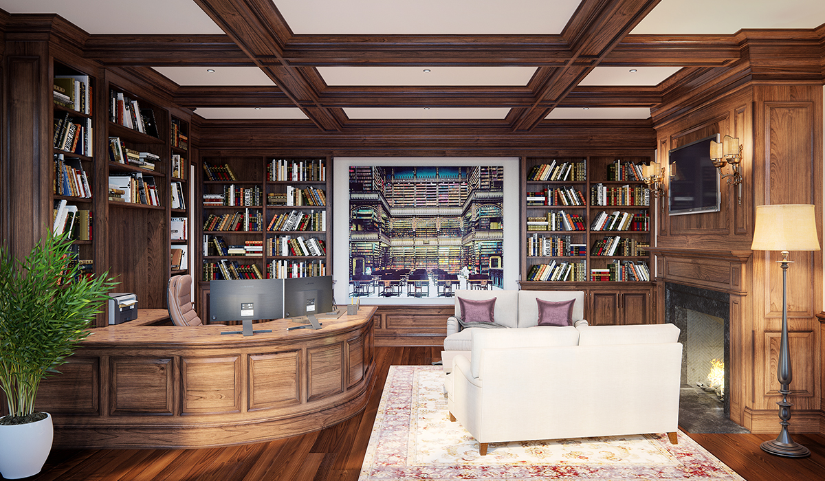 Greenwich,CT 3D interior rendering of office with bookshelf and built in dest and coffered ceiling