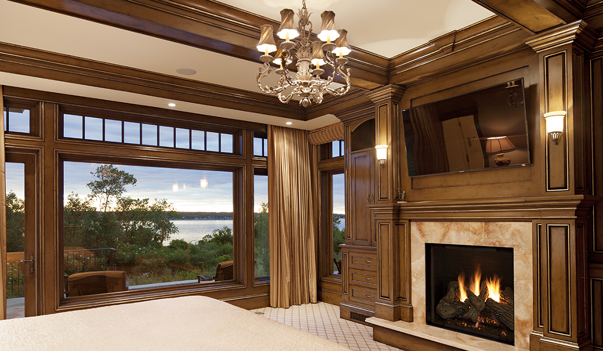 Portsmouth Rhode Island luxury master bedroom with floor to ceiling glass wall in Rhode Island
