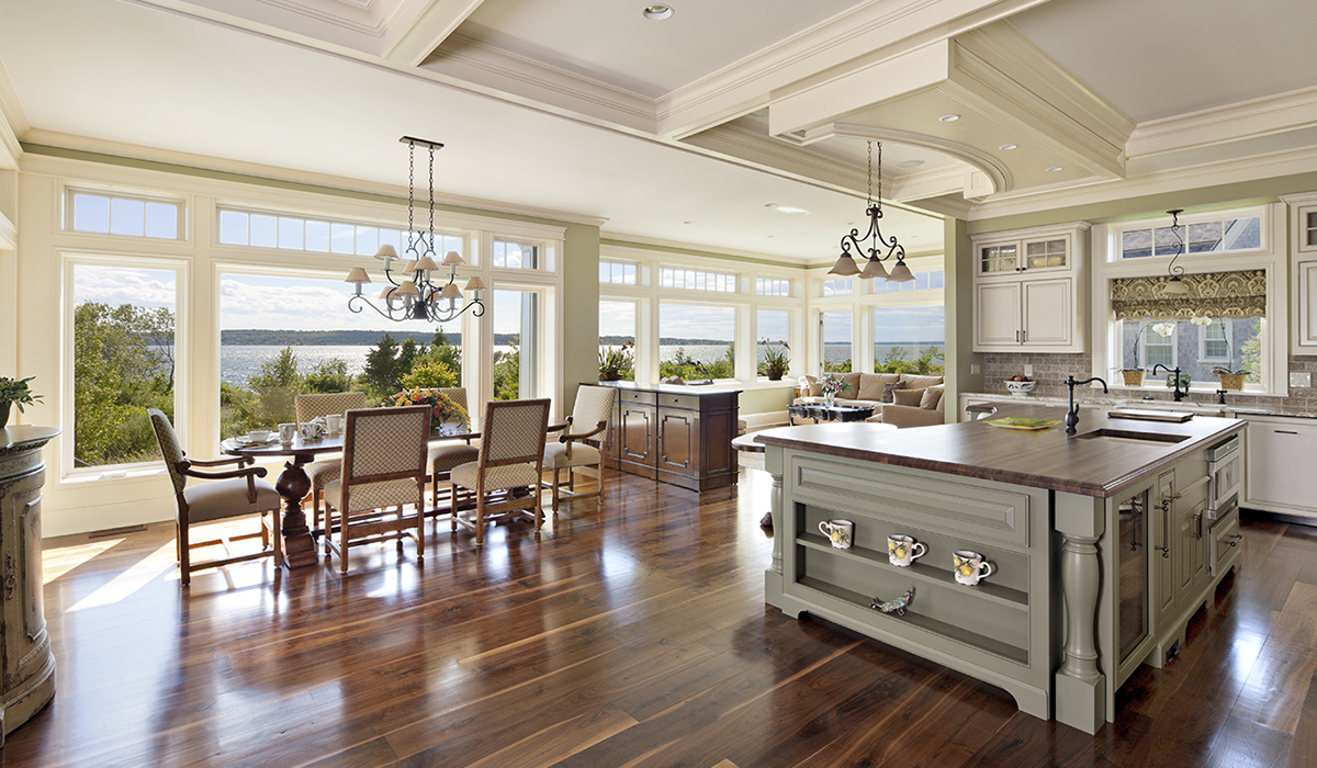Kitchen with a view in Portsmouth Rhode Island in waterfront home with a view