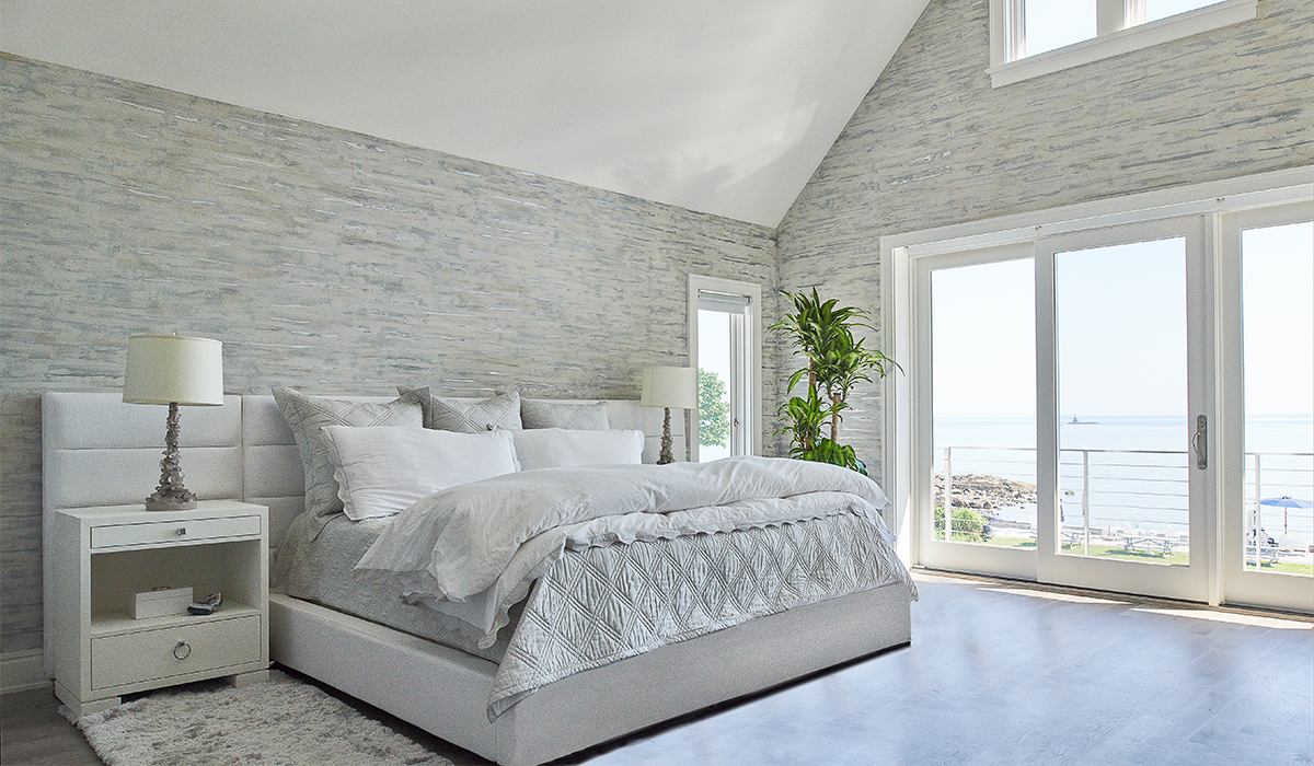 Rowayton Connecticut waterfront master bedroom with ocean view