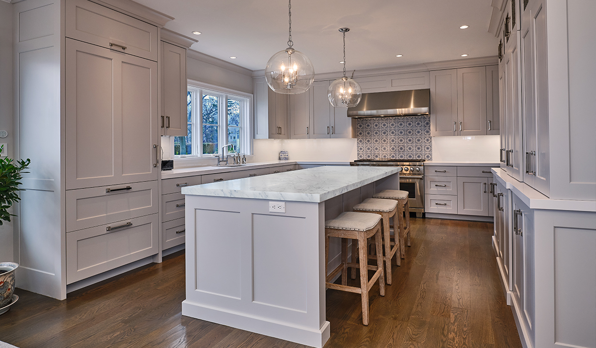 Stamford Connecticut luxury waterfront kitchen with large island