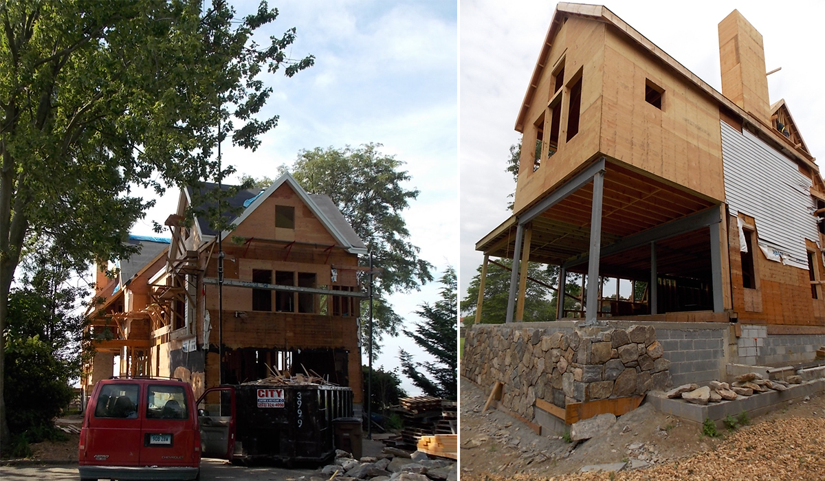 Stamford connecticut waterfront house lift under construction
