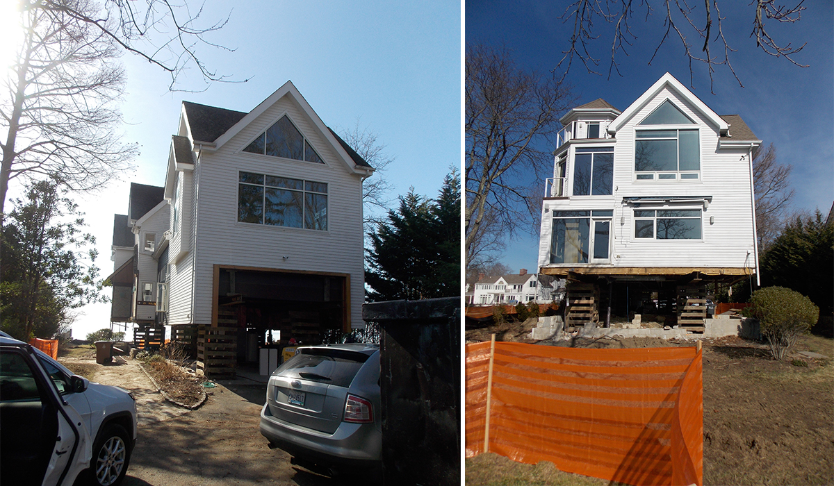 Stamford connecticut waterfront house lift renovation