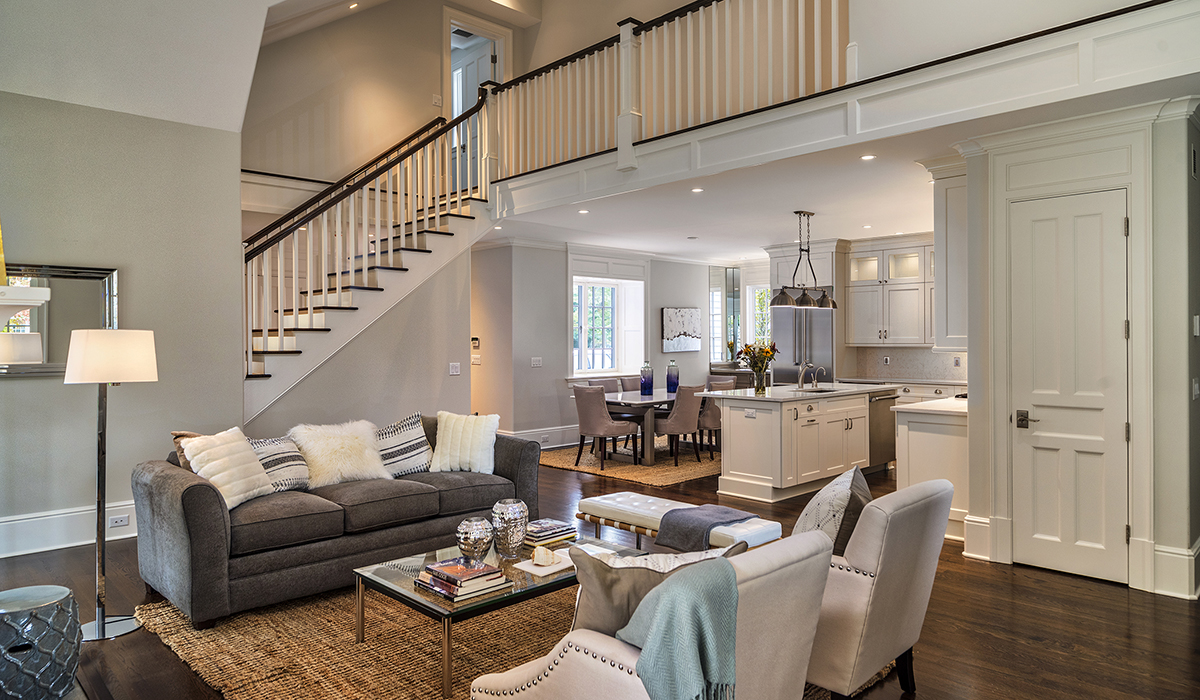 custom living room in commercial development in Darien by Cardello Architects