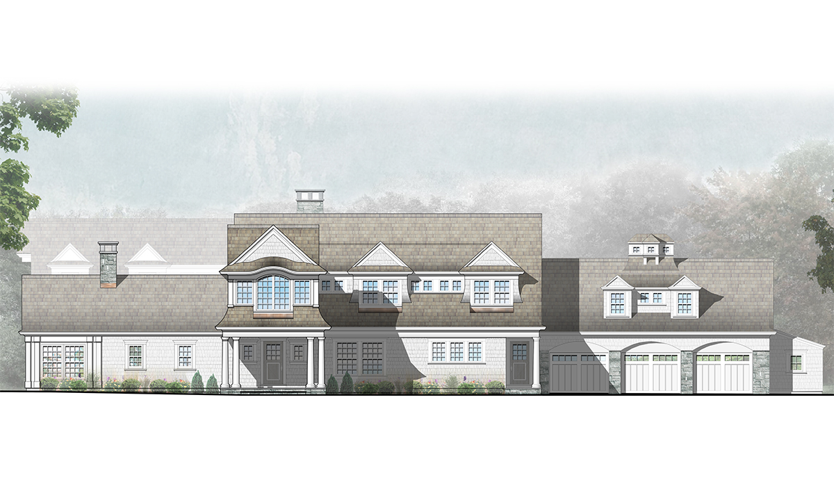 Cardello Architects Computer Photoshop Rendering of Shingle Style Home
