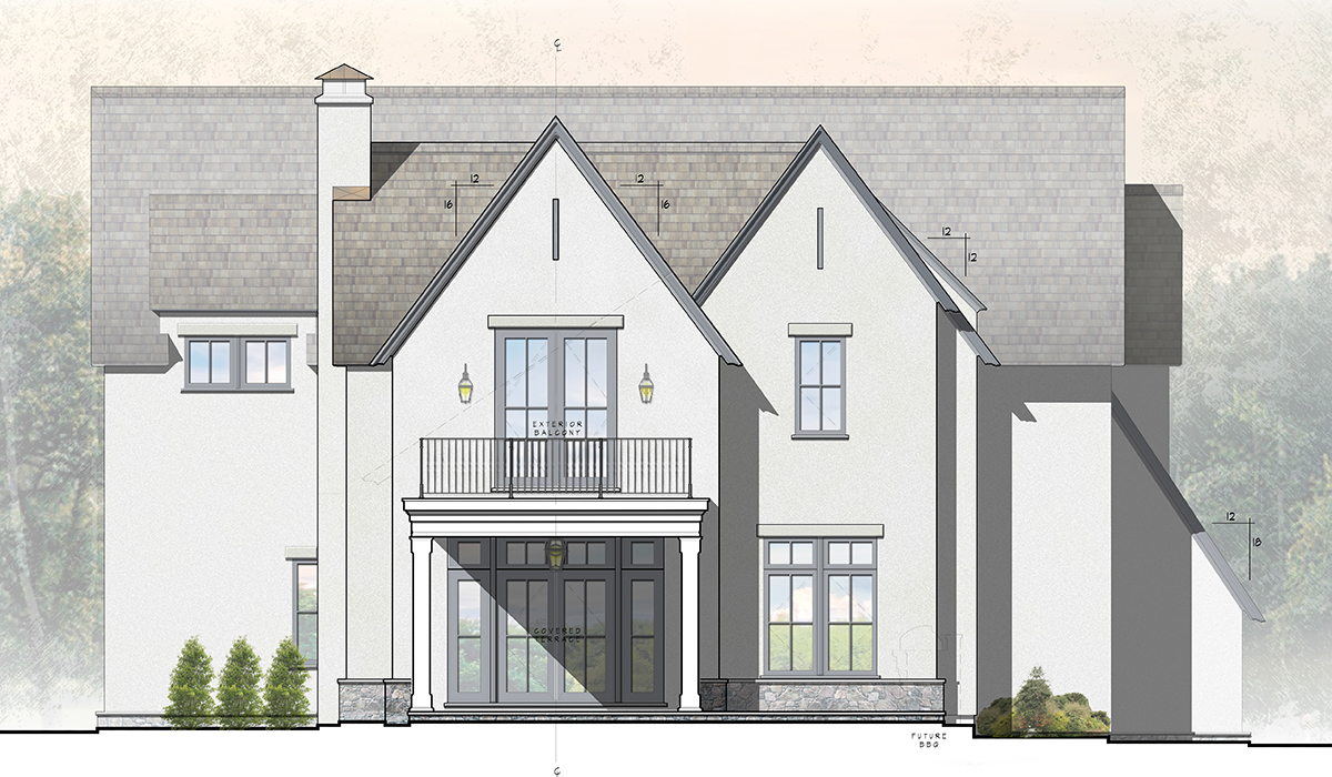 Larchmont Stucco Cottage Front Portico Rendering