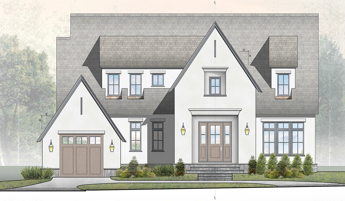 Larchmont Stucco Cottage Front Rendering
